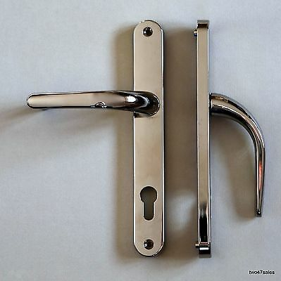 Sprung POLISHED CHROME Door Handles Set Front Lever 92mm uPVC Silver lock 92pz