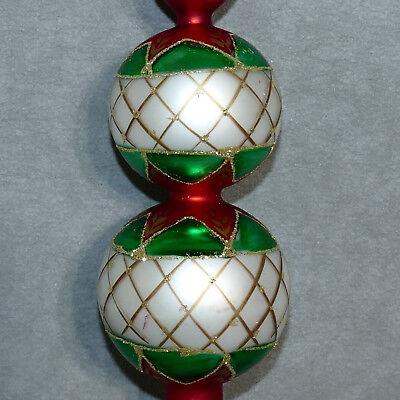 Christmas Tree Topper Finial Glass Double Ball Pearl Green Glitter USA SELLER