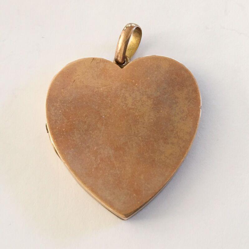 Antique Art Nouveau 9ct Lg Rose Gold Heart Locket/Drop/Pendant
