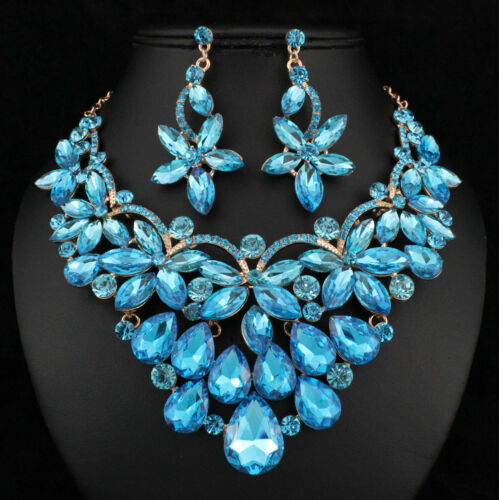 Floral Teal Austrian Cystal Rhinestone Necklace Earrings Set Prom Bridal N894
