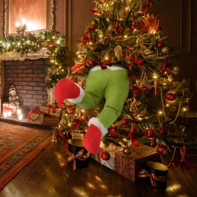How The Grinch Stole Christmas Plush Stuffed Legs Xmas Tree Wreath Decoration US