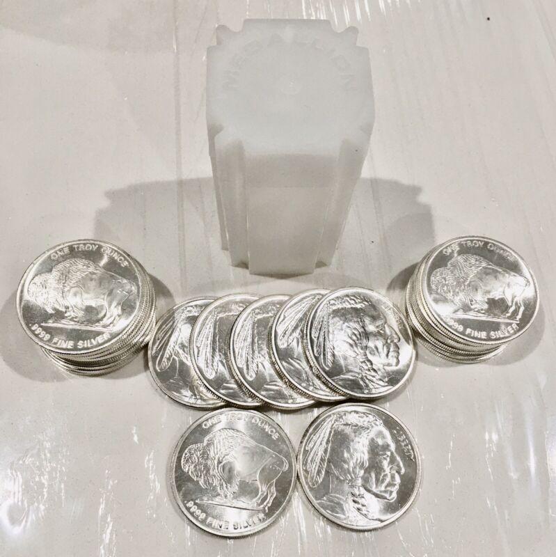 Roll Of 20 1 Troy Ounce Silver Buffalos In Stock