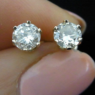 Vintage .95 carat Diamonds 14k Yellow Gold Stud Earrings Estate