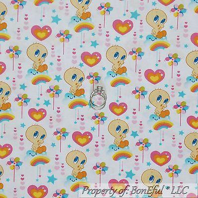 BonEful Fabric FQ Cotton Quilt Looney Tunes Flower Tweety Bird VTG Rainbow Heart