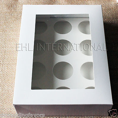 3pcs Bakery Boxes Cupcakes Muffins White Winserts 12 Holes Party Favor