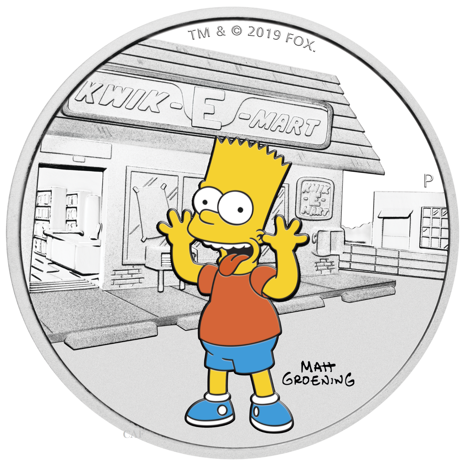 2019 The Simpsons - Bart Simpson 1oz $1 Silver 99.99% Dollar Proof Coin