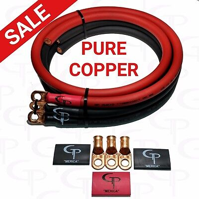 Gp Car Audio Big 3 Upgrade Wiring Kit Ofhc Copper True 1 0 Awg Gauge Red Black