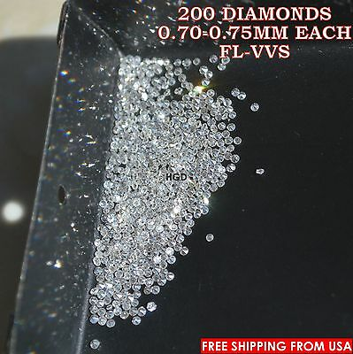 100% NATURAL Loose Round Single Cut 200 Diamonds Real FL-VVS D-F(white) Polished