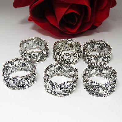 Widmann CW Antike florale Serviettenringe 6 Stück in 925 Silber,Serviettenhalter