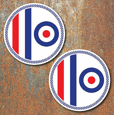 MOD Laminated Stickers x2 150mm scooter Vespa RAF The Who decals