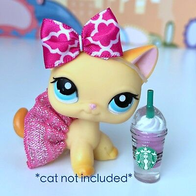Littlest Pet Shop Accessories LPS Lot Bow Skirt Starbucks CAT DOG NOT INCLUDED
