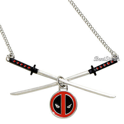 Disney Marvel Deadpool Logo Katana Blade Crossed Sword Necklace Costume Cosplay