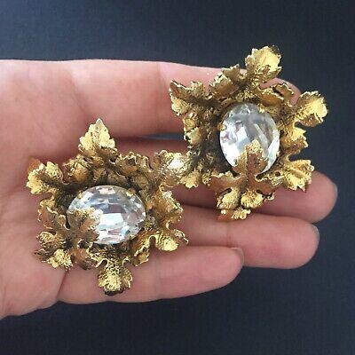Sonia Rykiel Paris Gold Tone Crystal Earrings XXL for sale  Shipping to Nigeria