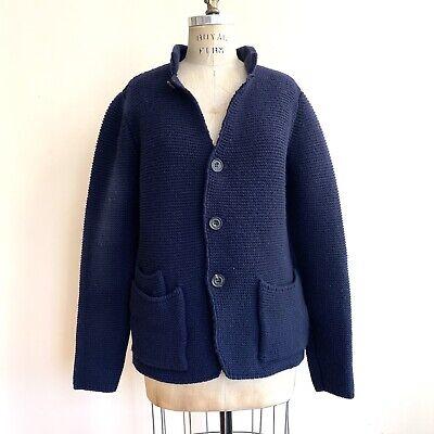 PAOLO PECORA Milano Sweater Knit Cardigan Navy Blue Mens Sz L