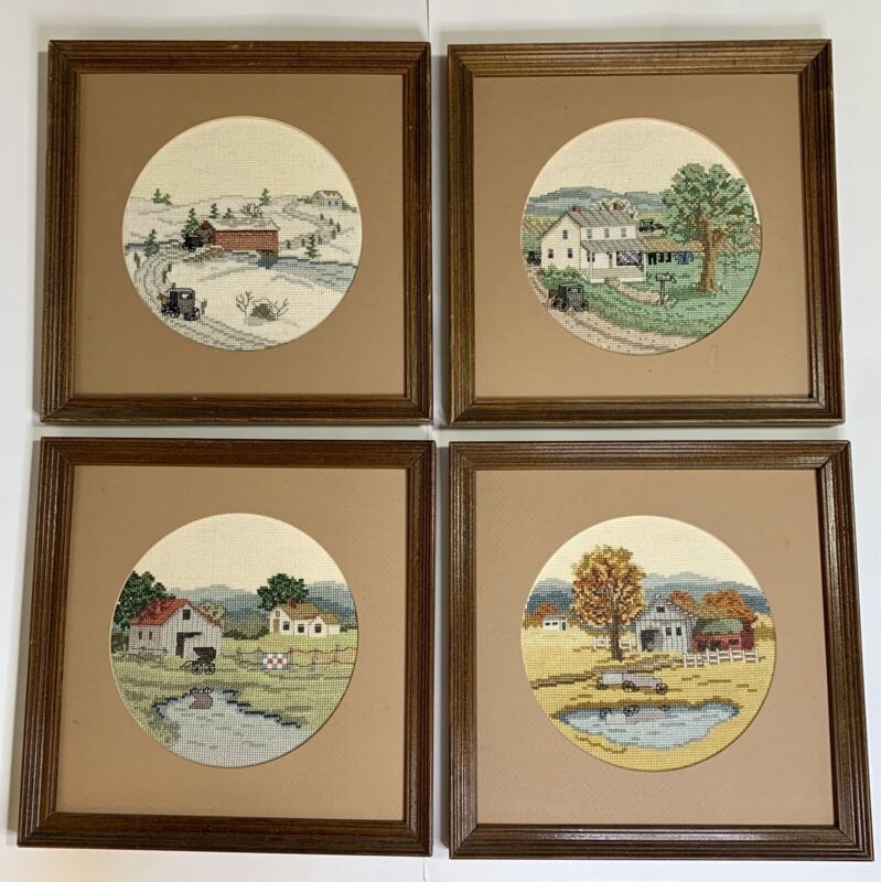 4 seasons lot LCompleted Matted & framed Counted cross stitch Amish Theme. EUC