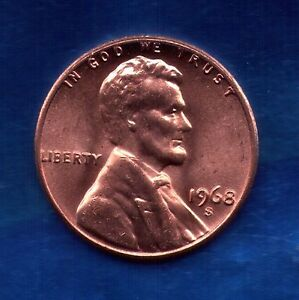 1968 S Penny UNC Slot Filler Or Starter Coin 68S0930