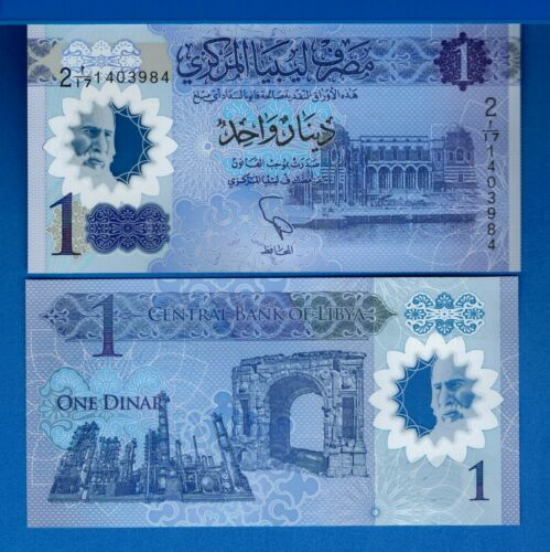 Libya P-New1 Dinar Year 2019 ND Polymer Uncirculated Banknote