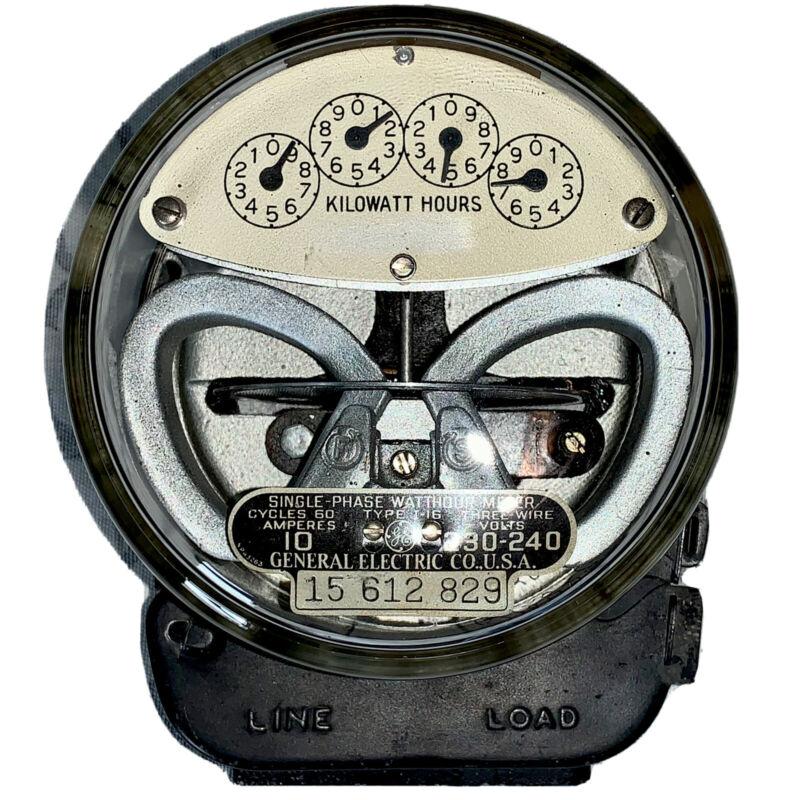 Vintage General Electric Power Meter 3 Wire Type  Steampunk Gauge Glass  Kilo
