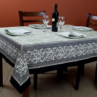 Cotton French Country Floral Tablecloth Square 72x72 Inches Napkins Black - Green Tablecloth