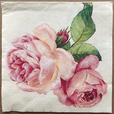 2 single Decoupage Dinner Napkins Favorite Rose Floral Blossoms Shabby Chic