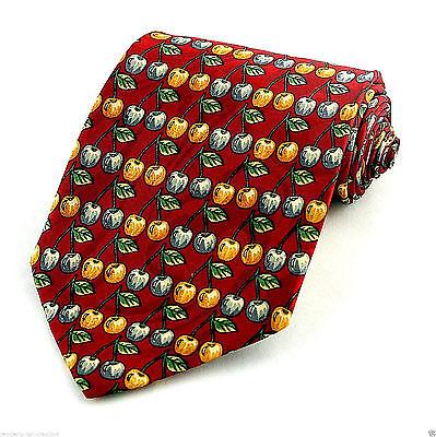 Sour Cherries Men's Necktie Cherry Fruit Pie Pastry Food Gift Red Neck Tie  Sour Pie Cherries