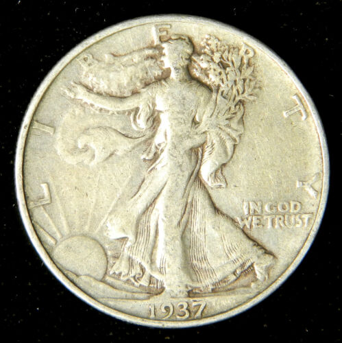 1937 Walking Liberty Half Dollar , Very Fine or Better , 90% Silver US Coin