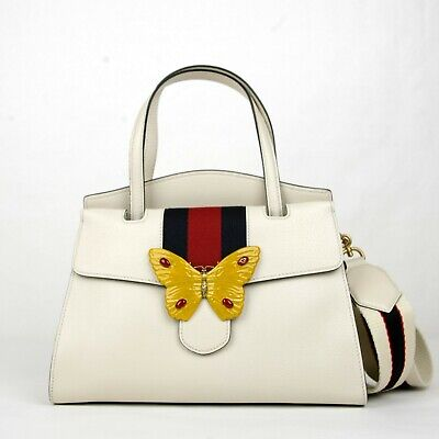 2f778370679f87 $3490 Gucci Ivory Leather Butterfly Totem Medium Top Handle Bag 505344 9674