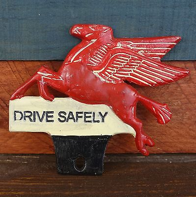 Mobil Pegasus Flying Horse License Plate FOB Topper Antique Finish Free Shipping