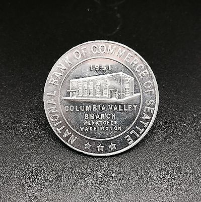 Collectible National Bank Of Commerce Of Seattle  Aluminum Coin  1951  Rf625