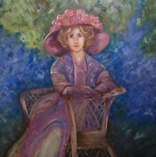 French/Hamptons Style.  Lady in Garden Oil Painting. Fremantle Fremantle Area Preview