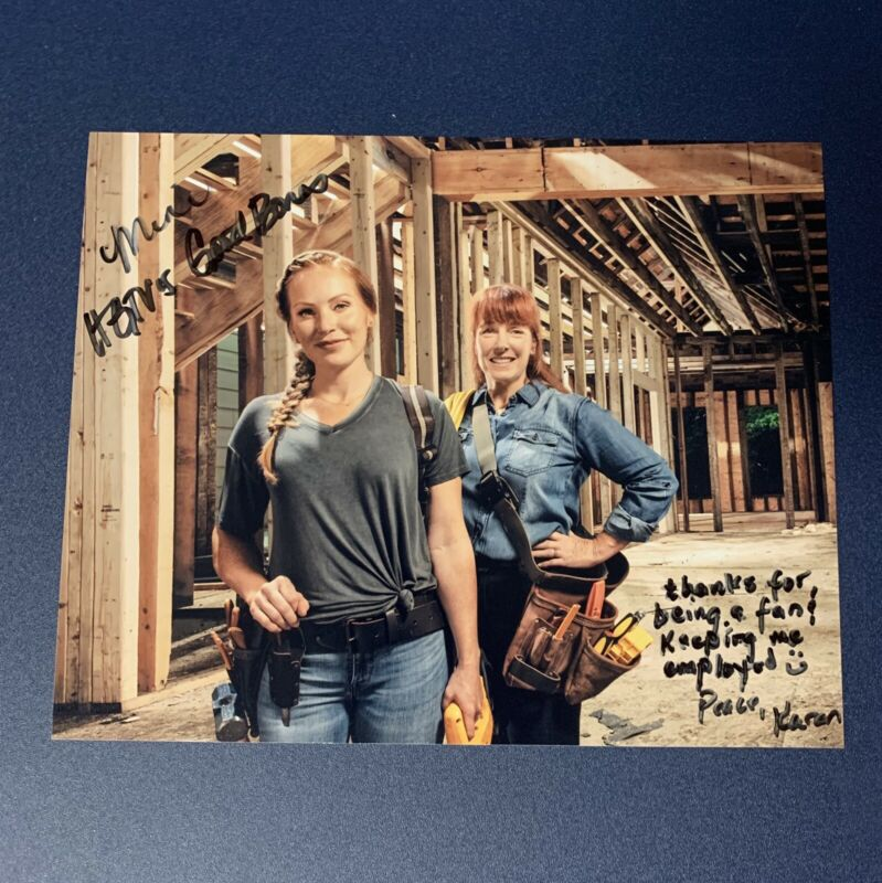 MINA STARSIAK & KAREN LAINE SIGNED 8x10 PHOTO AUTOGRAPHED GOOD BONES SHOW COA
