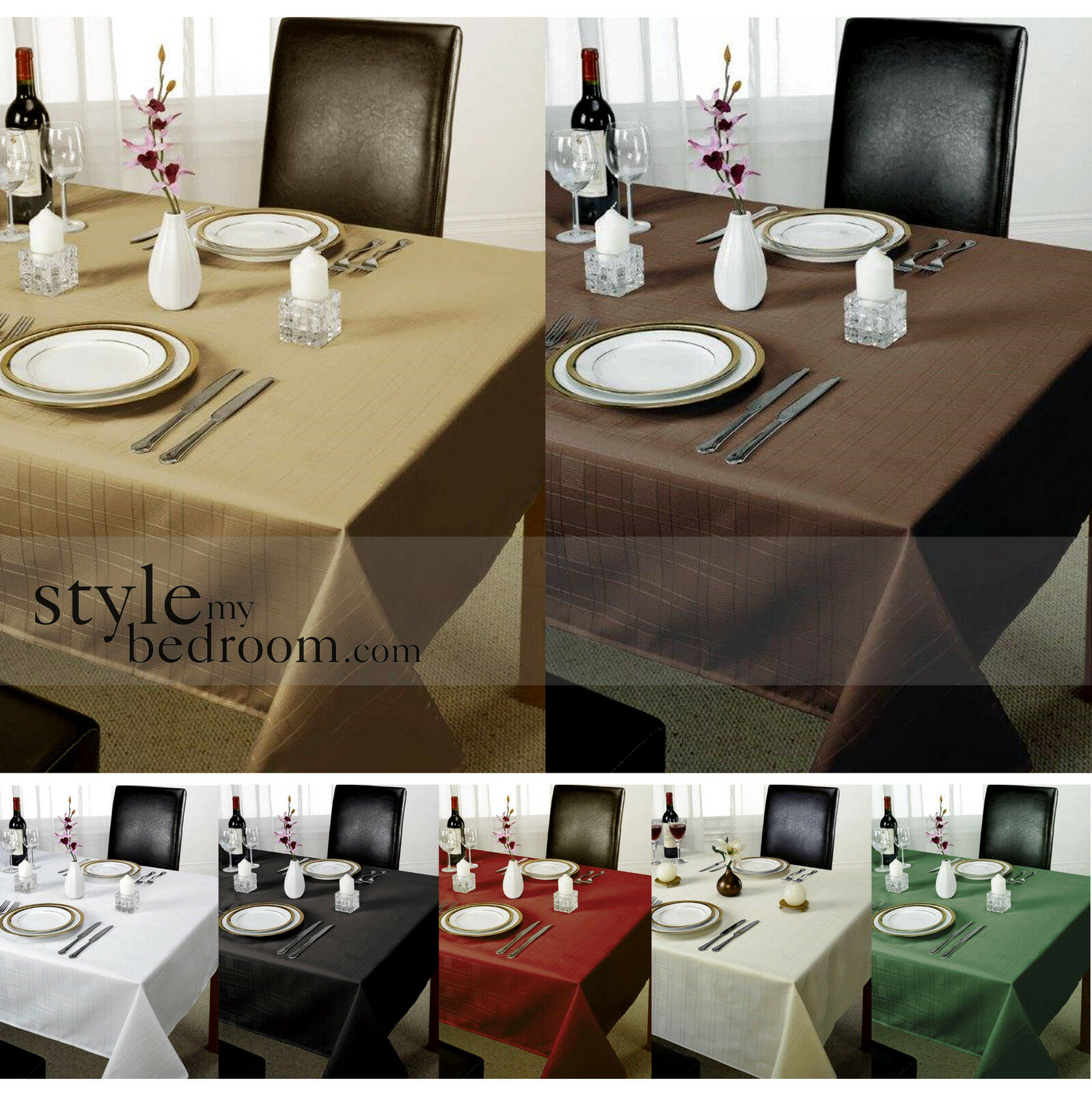 Delightful Chequers Check Jacquard Tablecloth In Various Colours, Shapes U0026 Sizes
