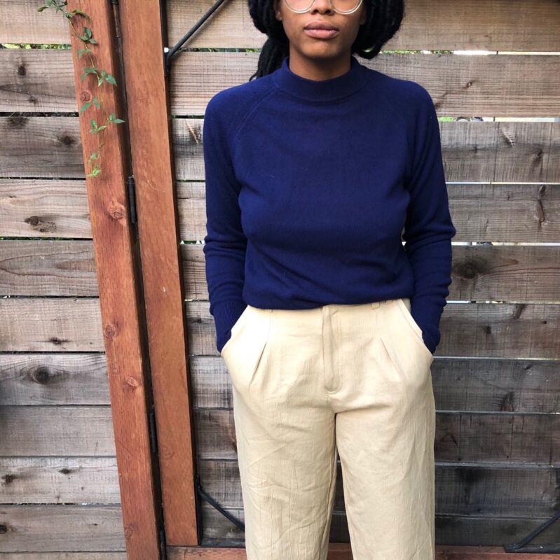 Vintage 70s Womens Sweater Sweatshirt Navy Medium