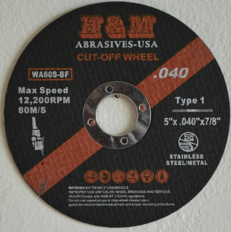 "25pcs 5-inch x.040""x7/8"" H&M ABRASIVES Cut-off Wheels Cutting Discs Type 1"