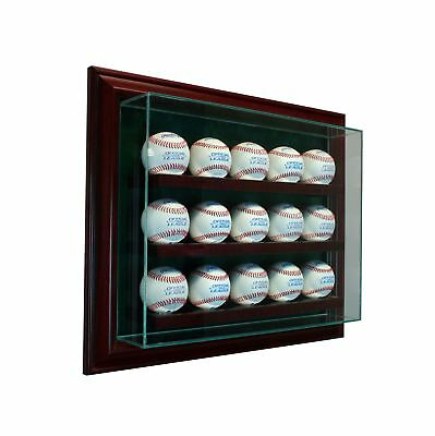 15 Baseball Cabinet Style Wood  Display Case 15 Ball Hinged Door Glass CHERRY Baseball Cabinet Style Display Case