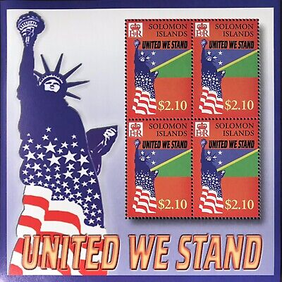 SOLOMON ISLANDS UNITED WE STAND STAMPS SHEET 2002 MNH 911 WORLD TRADE CENTER