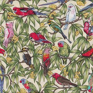 Australian Birds Corella Wattle Kingfisher Parrot Kookaburra Quilt Fabric FQ NEW