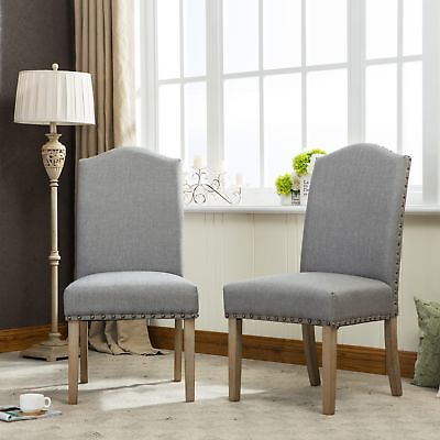 Mod Urban Style Solid Wood Nailhead Grey Fabric Padded Parson Chair, Set of 2 ()