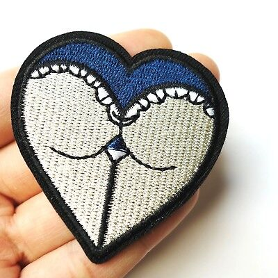 Booty Heart, Butt Ass Patch Iron-On/Sew-On Embroidered Applique, Lesbian Love