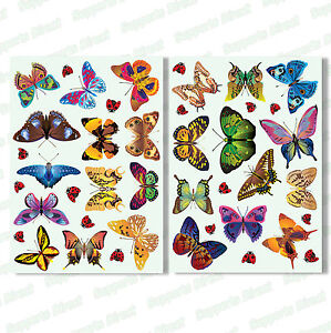 25 Beautiful Butterfly & 17 Ladybird Window Clings Glass Stickers Butterflies