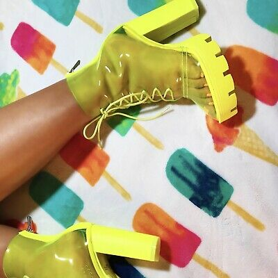Cape Robbin CYBIL Neon Lime Clear Lace Up Lug Platform Chunky Block Heel Bootie (Clear Platform Boots)