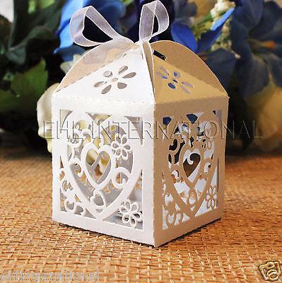 White Favor Boxes (48pcs White Heart Laser Cut Wedding Party Favor Candy Gift Boxes W/Ribbon )
