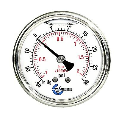 2.5 Liquid Filled Compound Vacuum Gauge 30 Hg30 Psi Stainless Case Back Mnt