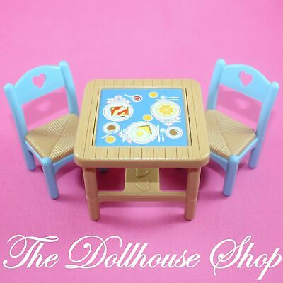 Fisher Price Loving Family Dream Dollhouse Dining Room Flip Table 2 Blue Chairs