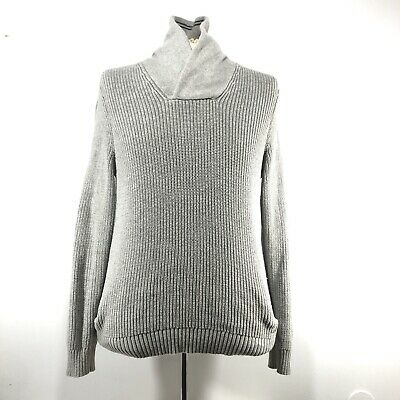 Nautica Mens Size Medium Cowl Neck Solid Gray Pullover Chunky Knit Sweater EUC