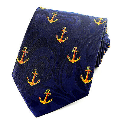 Ship Anchor Mens Neck Tie Nautical Boat Sea Military Anchors Navy Blue Necktie -