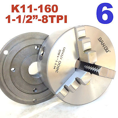 1 Pc Lathe Chuck 6 3jaw Self Centering Wback Plate 1-12-8tpi K11-160 Sct-888