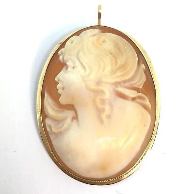 14k Yellow Gold Signed Cameo Pendant Brooch