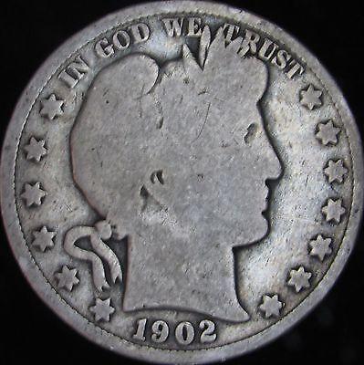 1902-P Good+ Barber Silver Half Dollar