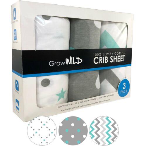 100% Cotton Crib Sheet 3 Pack, Jersey Soft Baby Sheets Girl Boy Grey White Teal